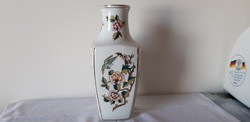 Hollóházi porcelán ritka szegfűs váza