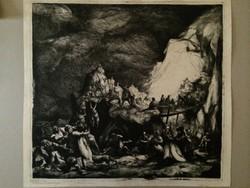 Istókovits Kálmán - Hegyibeszéd II., 1927, rézkarc, árkádia, neoklasszicizmus, bibliai jelenet