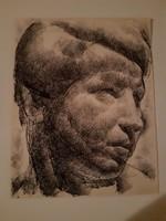 Tarjáni Simkovics Jenő - Portré, 1923. k. neoklasszicizmus, Olgyai iskola, tus, egyedi rajz