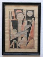Bortnyik Sándor - Geometrikus kompozíció című festménye