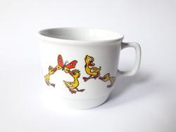 Zsolnay retro porcelán bögre - kacsás mesefigurás gyerek csésze