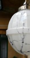 Art deco mennyezeti lámpa felújítva - különleges formájú márványozott fehér búra