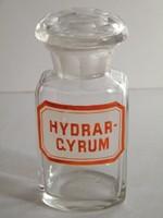Antik gyógyszeres üveg (Hydrargium) felirattal
