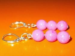 Ritka! Rózsaszínű Jade ásvány Gyöngy 925 ezüst kézműves Fülbevaló