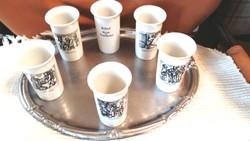 6 db  porcelán pohár,  Wallendorfi röviditalosrégi mesterségek ábráival