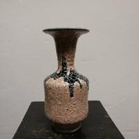 Gorka stúdió váza. Kézzel festett  fekete-rózsaszínű máz.Ritka!  F-24