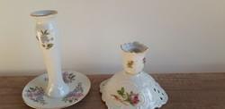 Zsolnay porcelán gyertyatartó, virágos  német gyertyatartó