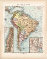 Dél - Amerika politikai térkép 1903, német nyelvű, atlasz, 44 x 55 cm, Moritz Perles, Andrees, Chile