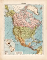 Észak - Amerika politikai térkép 1910, német nyelvű, atlasz, 44 x 56 cm, Moritz Perles, Andrees