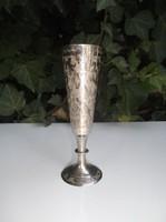 Ezüstözött - gravírozott - Német - váza - 13 x 4 cm
