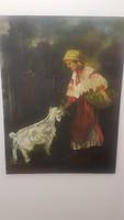 RudnayGyula : kecskét etető nő