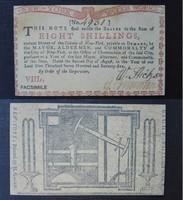 Első USA Dollár - 9 Shilling-es bankjegy, ez eredeti (1775)