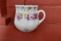 Ritka hasas porcelán árvácskás ,virágos  bögre, nosztalgia darab, paraszti dekoráció