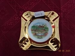 EIGL minőségi  porcelán Ausztria, aranyozott szélű hamutál. Alpenbadi emlék.