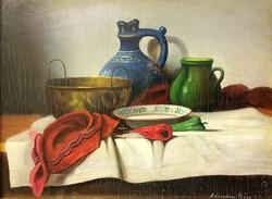 Ferenczy Béla:Asztali csendélet, olaj-fa