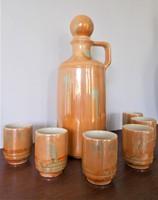 Különleges lüszter mázas porcelán/fajansz italkínáló készlet