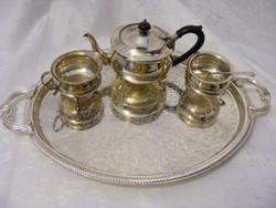Hatalmas tálcával ezüstözött teás - kávés készlet, kanna, tejes vagy tejszínes, cukortartó kanállal
