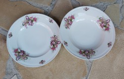 MZ Altrohlau Gyönyörű  rózsás ,virágos porcelán tányér szett lapos + mélytányér,Gyűjtői darab