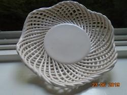Hibátlan kézzel készült Fonatos hullámos szélű tál,asztalközép