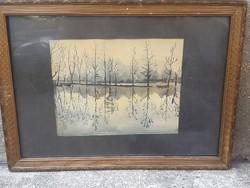 Akvarell, jezés nélkül, 21 x 27 cm-es, keretezve, ajándéknak.