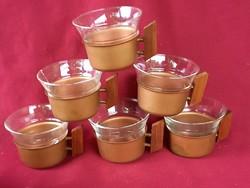 50 6 db Retro Jena glas  jénai üveg kávéscsésze fém-fa tartóval