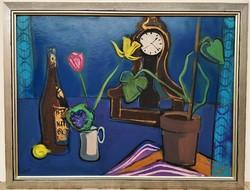 Jakab Eszter (1943 - 1989) Csendélet c. képcsarnokos festménye 88x68cm EREDETI GARANCIÁVAL !