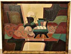 Halmy Miklós (1931 - ) Csendélet c. Képcsarnokos festménye 70x55 cm EREDETI GARANCIÁVAL