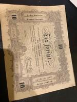 Eredeti 1848-as papír tíz forintos eladó!Ara:16000.-