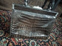 Antik krokodil vagy aligátor táska, Matell Gold Pfeil egzotikus bőrtáska női krokodlbőr retikül