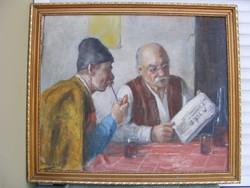 Horváth G.Andor: Na mi újság? Festmény olaj-vászon 58X68 kerettel