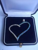 Gyönyörű ezüst szív kék-fehér kövekkel -függelék,medál