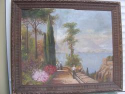 ARNARI? Mediterrán(olasz)táj olajvászon fakeretben Kerettel50x60cm cca 1920