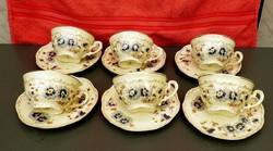 Zsolnay búzavirágos teáscsésze kistányérral  6 db.
