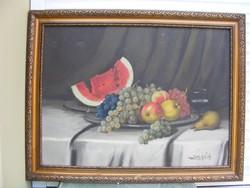 SZEGŐ A: Gyümölcscsendélet keretben 60X78cm olaj-festőlemez