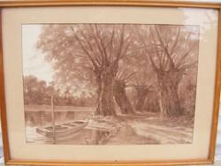 Hargitai .G. Csónak a folyóparton