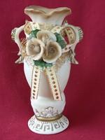 50 kézzel készült rózsás kerámia váza dekoráció 16 cm