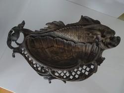 Szép hibátlan bronz sárkányhal kártyatartó.