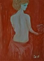 """Kata Szabo: """"bathing lady"""" oil painting, 40x30 cm, wood fiber, nice white frame, signed"""