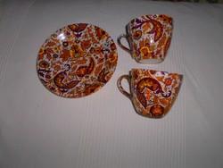 Antik porcelánfajansz 2 db  csésze +1 tányér