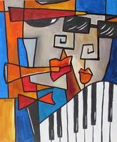 B.Tóth Irisz-CSAK A ZENE- modern festmény