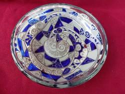 206/1 Vastag öntött és festett üveg kínáló tál asztalközép 19,5x5 cm