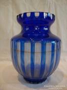 Régi hántolt pácolt metszett üveg váza