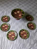 Antik ritka Körmöcbányai kerámia talpas sütemény kínáló + 6 darab süteményes tányér készletben