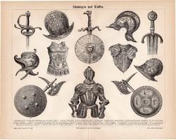 Páncél és fegyver, egyszín nyomat 1889, német nyelvű, eredeti, kard, pajzs, sisak, lovagi, fejsze