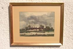 """Weintrager Adolf ( Diószeg,1927 - 1987 ) """"Kertek alatt!"""" - csodálatos akvarell festmény!"""