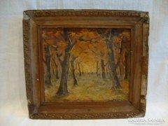 Jelzett antik festmény őszi erdőbelső