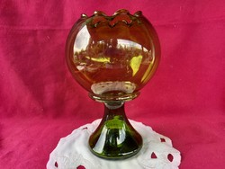 206/1 Különleges gömb alakú hullámos szélű talpas váza 23x15 cm