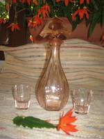 Art deco likőrös üveg + két pohár  , barack színben    24 cm