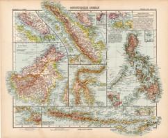 Kelet - indiai szigetek térkép 1908, német atlasz, nagy méret, 39 x 48, Borneó, Jáva, Celebes, Sunda