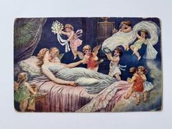 Régi angyalos képeslap Suchánek esküvői álom